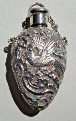 Chester 1903 solid silver Sampson Mordan scent bottle decorated with birds