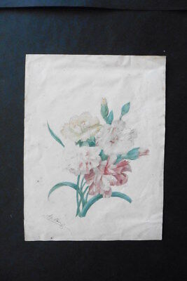 FRENCH SCHOOL 19thC - A BOUQUET OF FLOWERS SIGN. CLAUDE - WATERCOLOR
