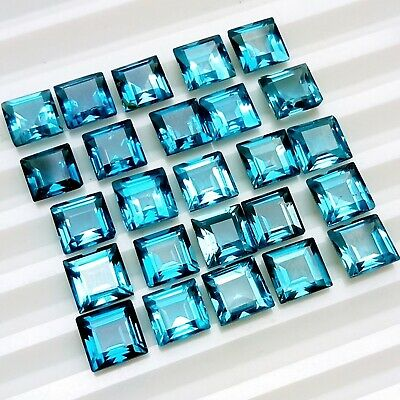 Wholesale Lot 4mm to 7mm Square Cut London Blue Topaz Loose Calibrated Gemstone