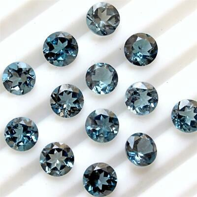 Wholesale Lot of 4mm Round Facet AAA London Blue Topaz Loose Calibrated Gemstone