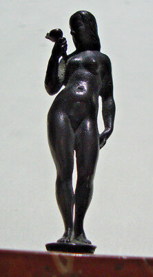 Antique miniature cast bronze figure of a nude lady on marble base