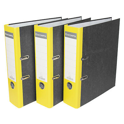 3 x Yellow 75mm A4 Lever Arch Files Paper Document Large Storage File Folders