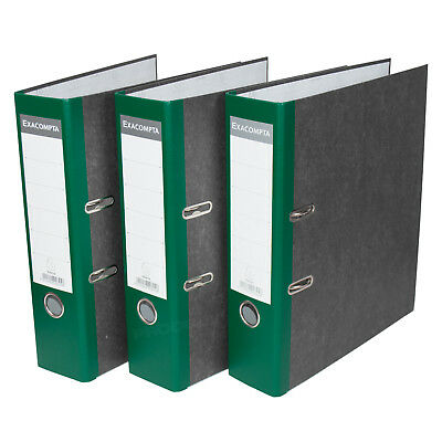 3 x Green 75mm A4 Lever Arch Files Paper Document Large Storage File Folders