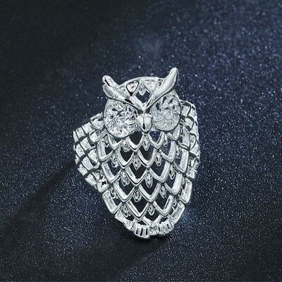 Unisex Cute Hollow Owl Animal Ring Silver Plated Fashion Casual Finger Jewelry