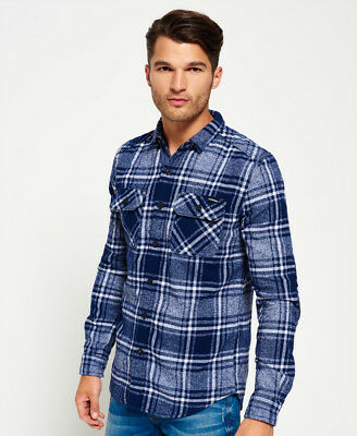 New Mens Superdry Milled Flannel Shirt Lavenham Navy Check