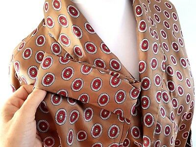 Mens Vintage Gold Sammy Paisley Heavy Silky Smoking Jacket Dressing Gown Robe Xl