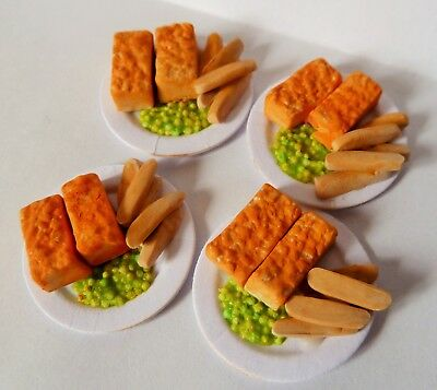 "Dolls House Miniature 4 X Fish Fingers + Chips 1"" Cardboard Plates Combined P+P"