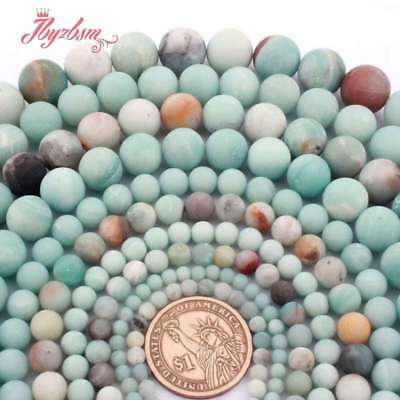 """Natural Stone Amazonite Green Multicolor Frosted Loose Beads Jewelry Making 15"""""""