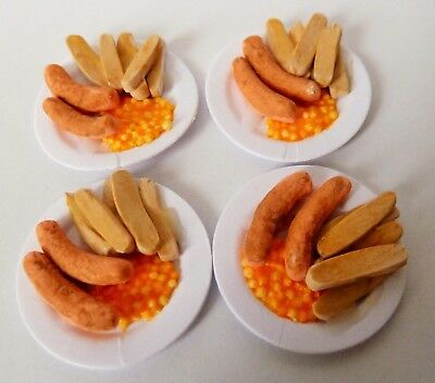 "Dolls House Miniature 4 X Sausage + Chips On 1"" Cardboard Plates Combined P+P"