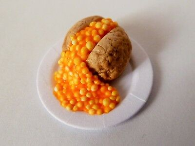 "Dolls House Miniature Jacket Potato + Beans On 1"" Cardboard Plate Combined P+P"