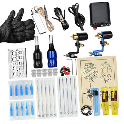 Professional Complete Tattoo Kit 2 Machine Gun Power Supply Needle Cord Set