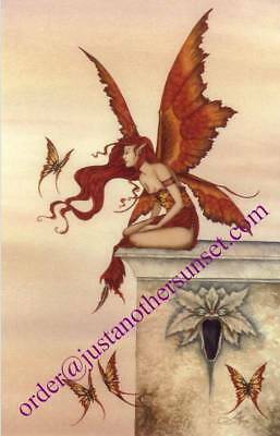 "Amy Brown Wings Like Sunset Print Fairy Butterfly 11x17"" Fantasy Art Orange Red"