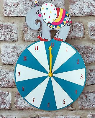 Circus Themed Elephant Kids Children Wall Clock Turquoise Green White Ball Child