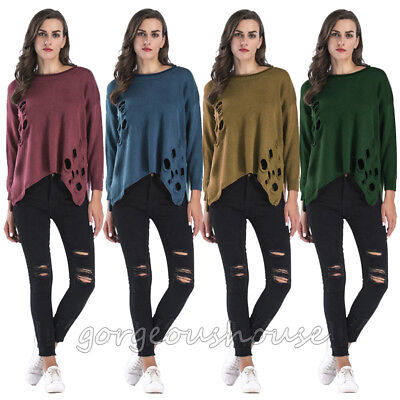 Ladies Knit Oversized Womens Sweater Destroyed Distress Ripped Baggy Jumper Tops