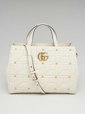 a45ff6d20a8 Gucci White Quilted Leather Studded Marmont Medium Top Handle Tote Bag