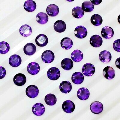 Lot of 5mm Round Facet Cut Natural African Amethyst Loose Calibrated Gemstone