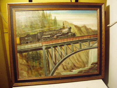 Original Oil Painting Signed Don King Railroad Rio Grande #3675 Train on Trestle
