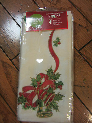$40 Food Network Sleighbell Wreath Napkins Cloth Ivory Red Green X4 Christmas