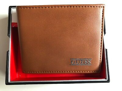 a8e6f07fa New Guess Men's Leather Credit Card Id Wallet Passcase Billfold Brown Rfid
