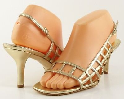 be2a76e366a  175 VIA SPIGA KEELEY Gold Metallic Leather Designer Strappy Heel Sandals  10 M