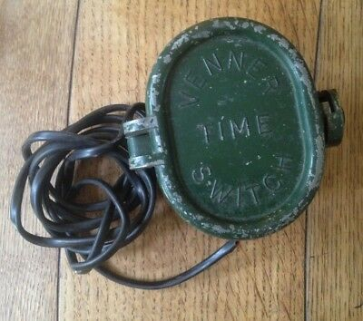 Vintage 1940's Venner Time Switch - Industrial Metal Clock - Working with Key