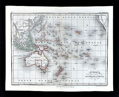 1865 Meissas & Michelot Map - Oceania Australia New Zealand Hawaii Tonga Tahiti