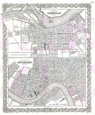 Map Antique 1855 Colton Louisville New Orleans City Plans Canvas Art Print