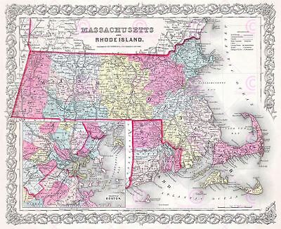 Map Antique 1855 Colton Massachusetts Rhode Island Replica Canvas Art Print