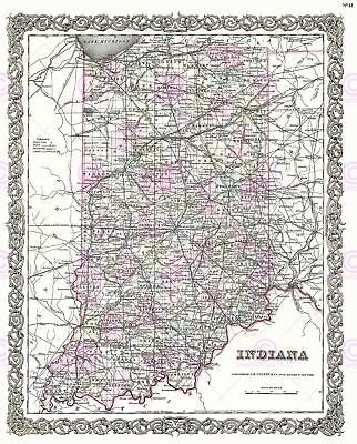 Map Antique 1855 Colton Indiana State USA Large Replica Canvas Art Print