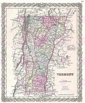 Map Antique 1855 Colton Vermont State USA Large Replica Canvas Art Print