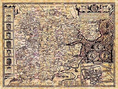 Map Antique Speed 1610 Essex County Historic Large Replica Canvas Art Print