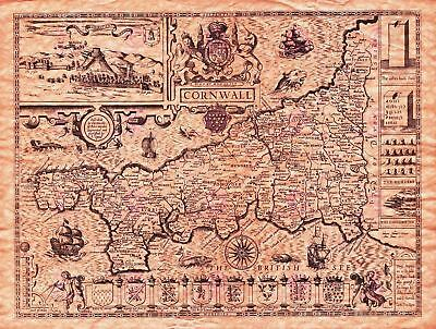 Map Antique Speed 1614 Cornwall County Old Large Replica Canvas Art Print
