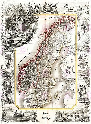 Map Antique Munch 1847 Norway Sweden Historic Large Replica Canvas Art Print