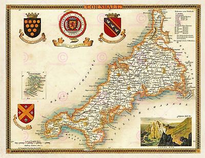 Map Antique Moule 1850 Cornwall County Old Large Replica Canvas Art Print