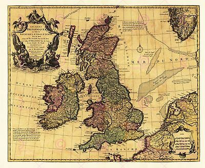 Map Antique L'isle 18th Century British Isles Large Replica Canvas Art Print