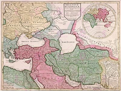 Map Antique L'isle 1712 Eastern Roman Empire 400ad Replica Canvas Art Print
