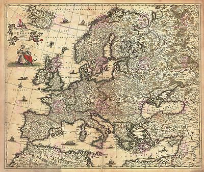 Map Antique De Wit 1700 Europe Old Historic Large Replica Canvas Art Print