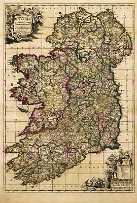 Map Antique De Wit 18th Century Ireland Old Large Replica Canvas Art Print
