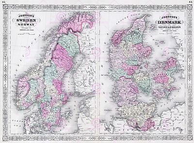 Map Antique Johnson 1865 Sweden Norway Old Large Replica Canvas Art Print