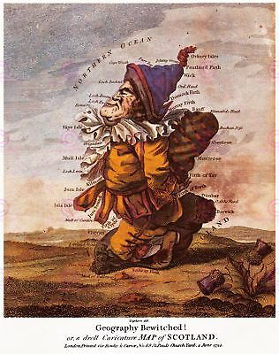 Map Antique Caricature Dighton 1794 Scotland Large Replica Canvas Art Print
