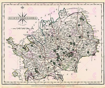Map Antique Cary 1787 Hertfordshire County Old Large Repro Canvas Art Print