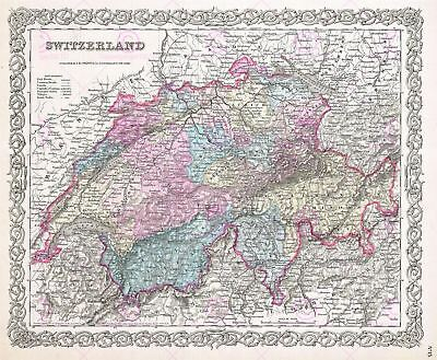 Map Antique Colton 1855 Switzerland Historic Large Replica Canvas Art Print