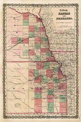 Map Antique Colton 1855 Kansas Nebraska Old Large Replica Canvas Art Print