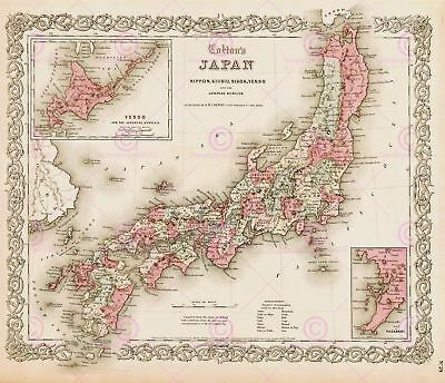 Map Antique Colton 1855 Japan Old Historic Large Replica Canvas Art Print