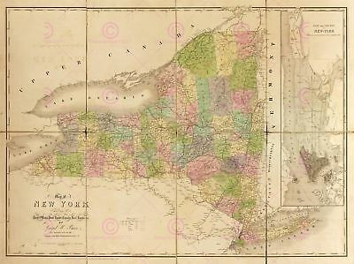 Map Antique American Atlas Burr 1839 New York State Replica Canvas Art Print