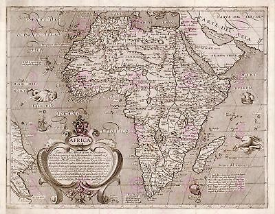 Map Antique Arnoldi 1600 Africa Old Historic Large Replica Canvas Art Print