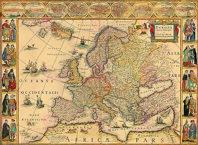 Map Antique Blaeu 1664 Europe Old Historic Large Replica Canvas Art Print