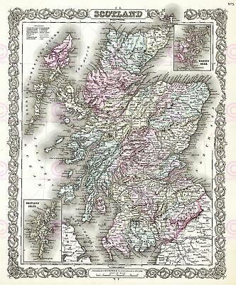 Map Antique 1855 Colton Scotland Old Historic Large Replica Canvas Art Print