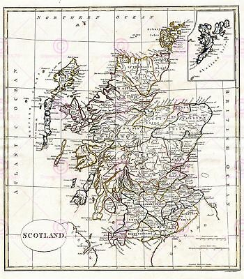 Map Antique 1799 Cruttwell Scotland Historic Large Replica Canvas Art Print
