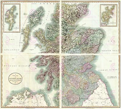 Map Antique 1801 Cary Scotland Old Historic Large Replica Canvas Art Print